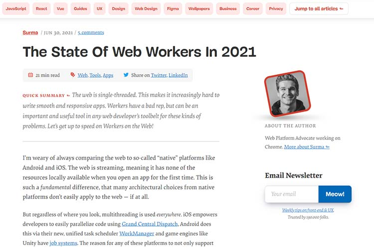 Example from The State Of Web Workers In 2021
