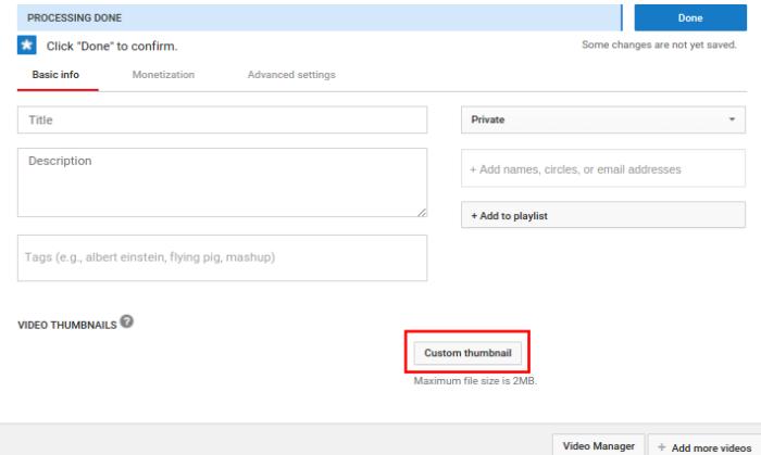 youtube subscribers upload custom thumbnail