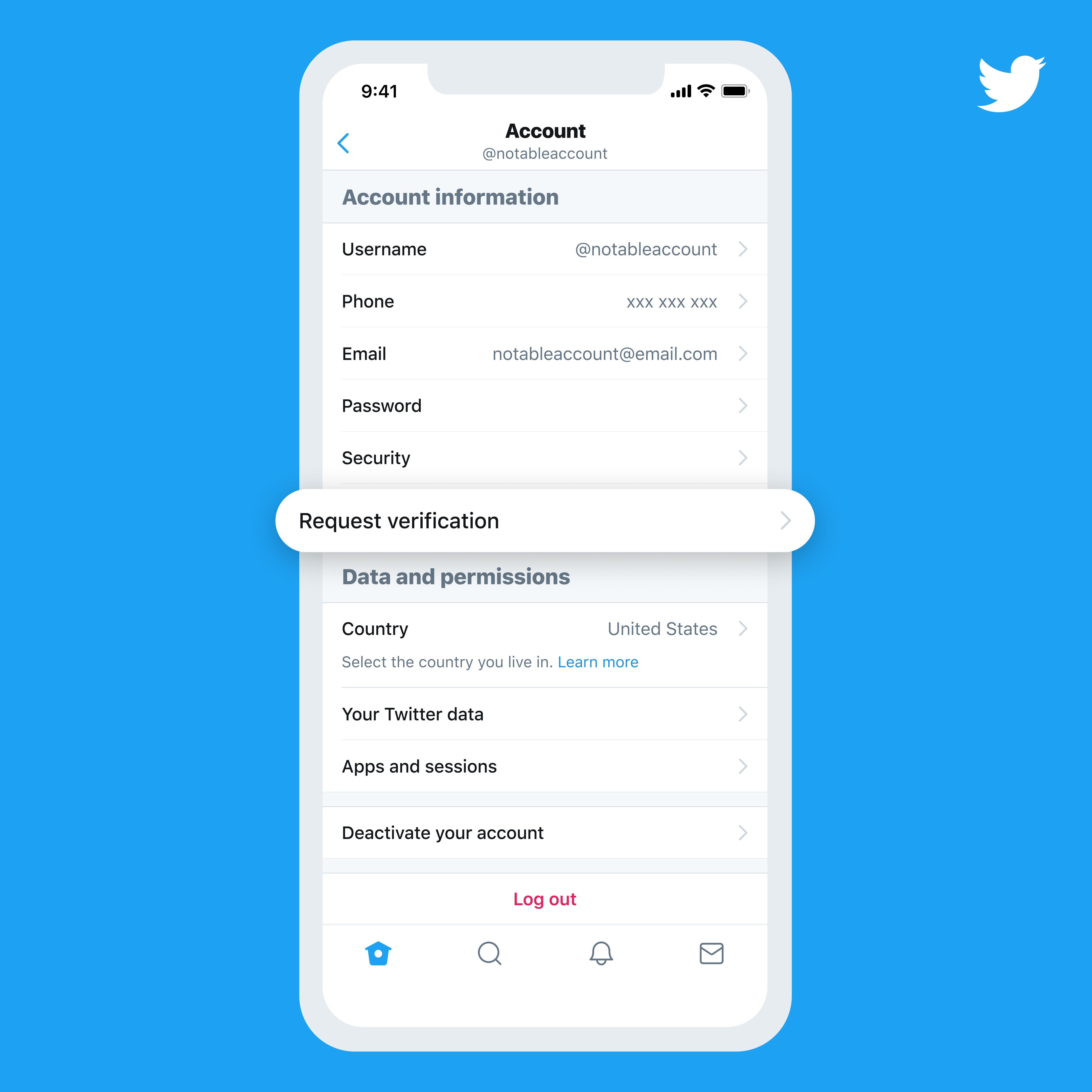 example of twitter verification option in mobile view