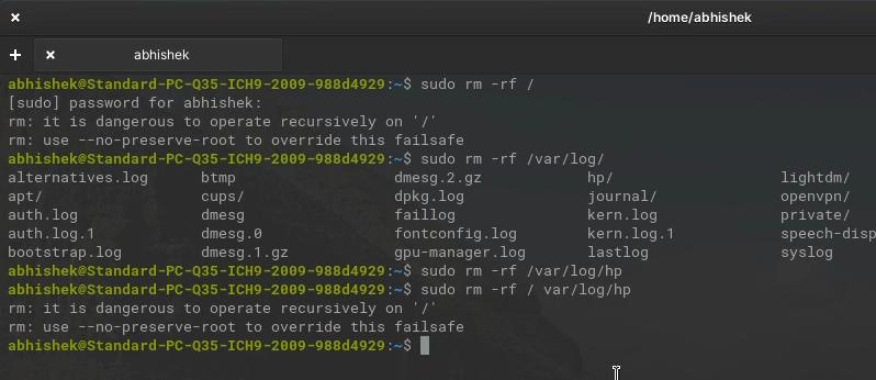 sudo rm rf example