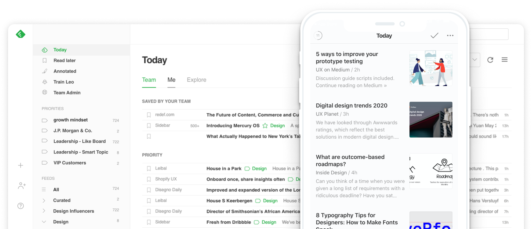 Example of the Feedly dashboard with multiple articles in a feed.