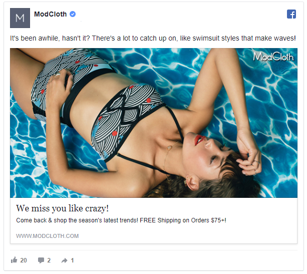 mod cloth retargeting strategy ad example
