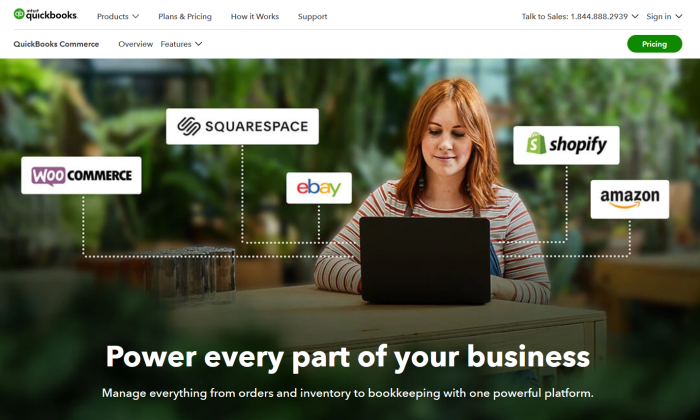 QuickBooks Commerce main splash page for Best Inventory Management Software
