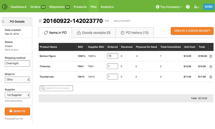 Odoro interface for Best Inventory Management Software