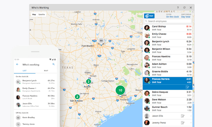 QuickBooks time GPS tracking map for Best Time Tracking Software