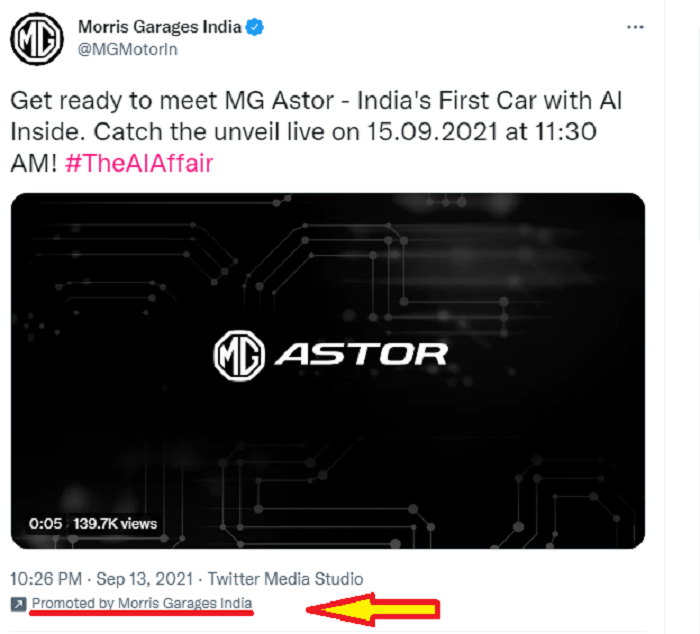 Niche paid ad campaign on Twitter posted by Morris Garages India.
