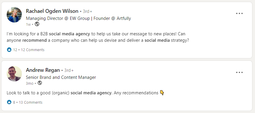 Asking on LinkedIn for recommendations for social media outsourcing