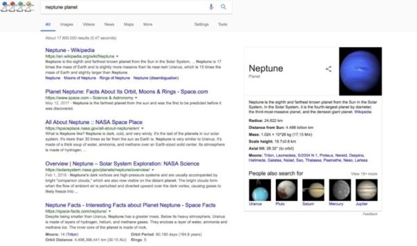 Google's search results for the term neptune planet