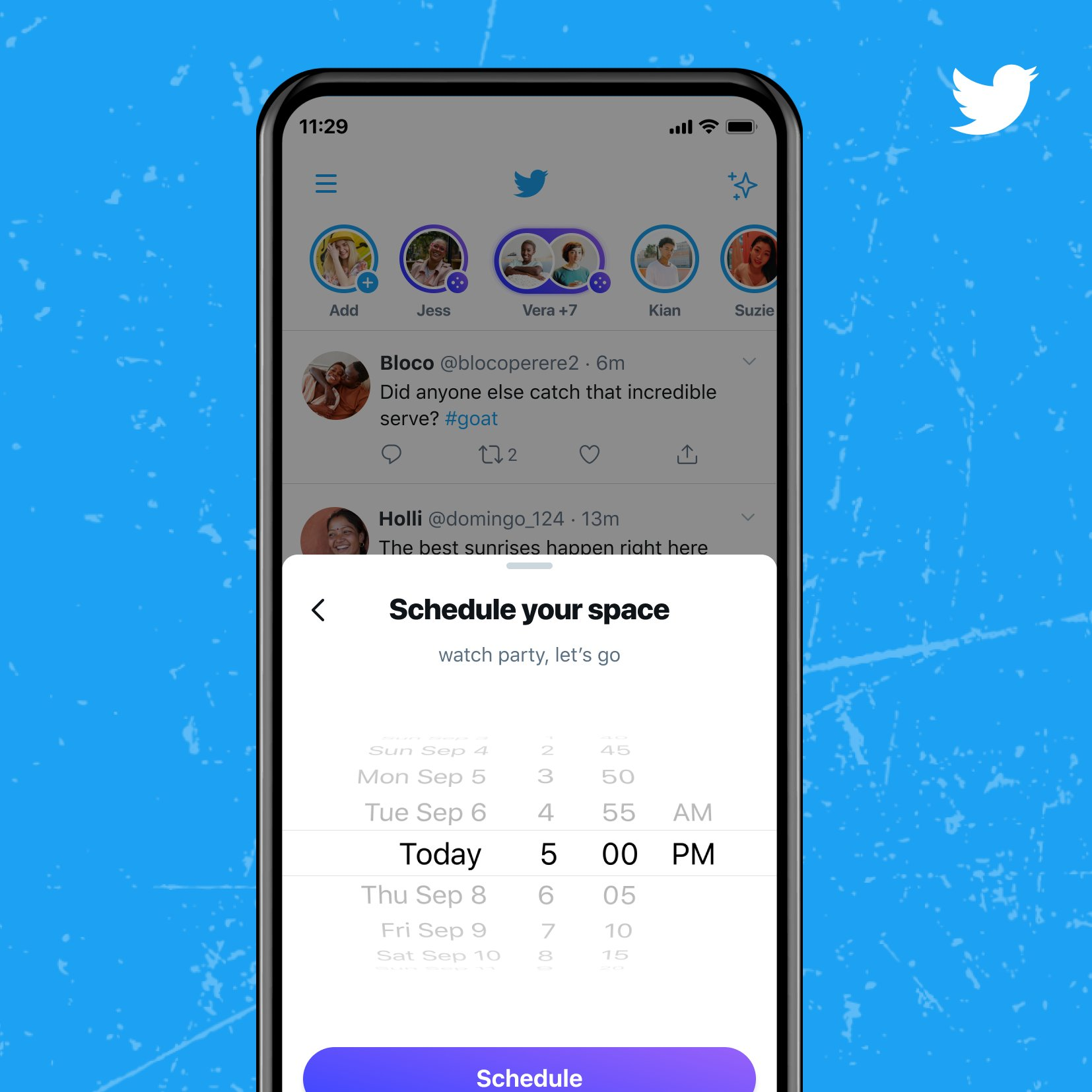 You have the option to schedule your Twitter Space for a specific date and time.