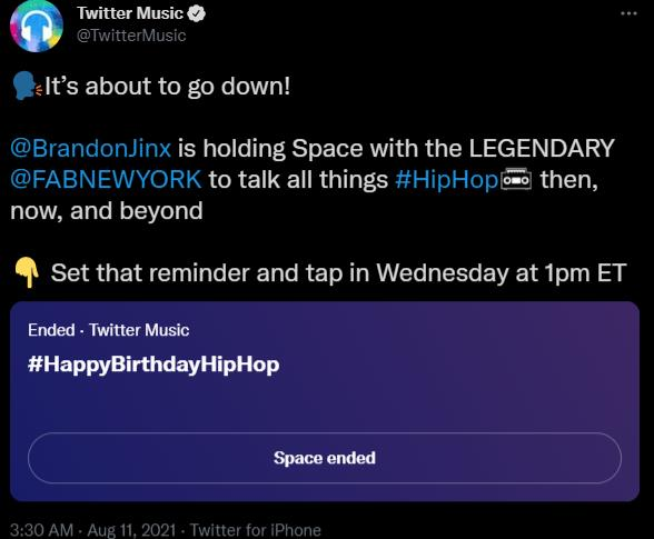 Twitter Space with the name #HappyBirthdayHipHop